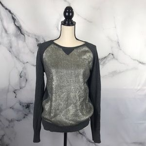 Halogen metallic pullover long sleeve sweater